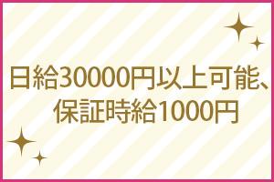 日給30000円以上可能、保証時給1000円